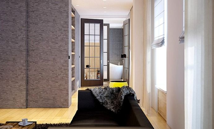 Home design gray white black living room sofa ceiling palate three door storage and curtain