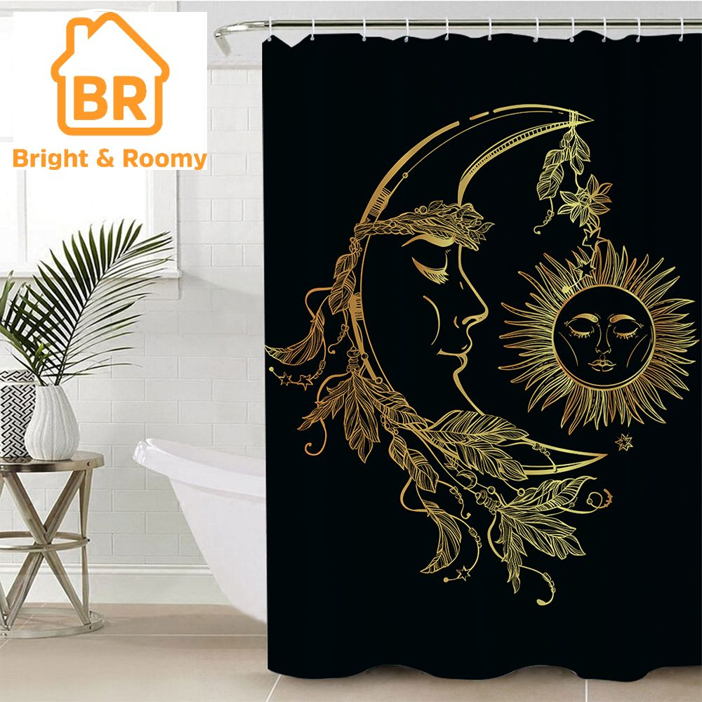 Golden Moon Amp Sun Shower Curtain 1pc With Images Plastic Shower Curtain Fabric Shower Curtains Dream Catcher Shower Curtain