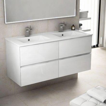Avec ses 121 cm de largeur, ce meuble de salle de bains suspendu - Meuble Vasque A Poser Salle De Bain
