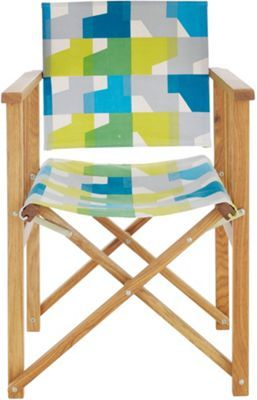 Habitat Africa Oak Directors Chair With Blue And Green Sling Homebase