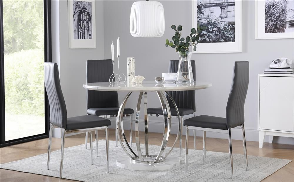 Savoy Round White Marble And Chrome Dining Table With 4 Leon