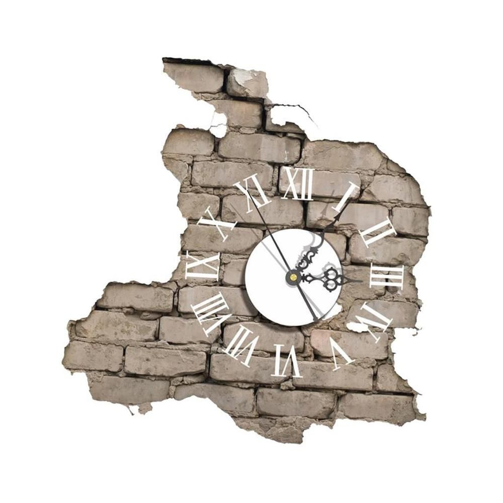 Rome Digital Wall Clock 3D Effect Sticker Decal Home Art Decor   Brick Wall
