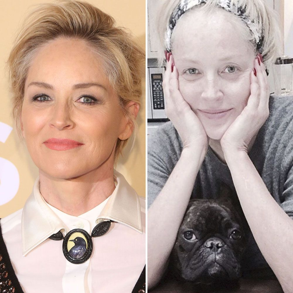 Sharon Stone Shares a Stunning Makeup-Free Selfie — Plus See More Celebrities With and Without Makeup!