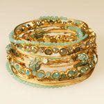 Seasonal Whispers bangle - Turq/Gold