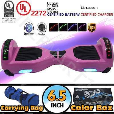 Bluetooth Self-Balancing Electric Scooter Skateboard Speaker LED Marquee Pink