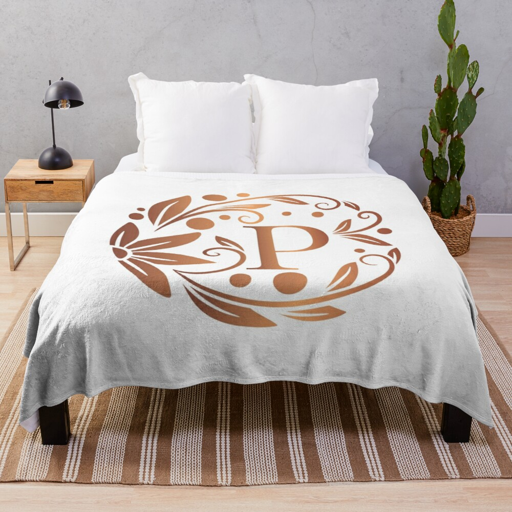 'Personalized rose gold monogram with initial letter P. Luxury leaves pattern on a white background. Floral frame.' Throw Blanket by Annartlab#annartlab #background #blanket #floral #frame #gold #initial #leaves #letter #luxury #monogram #pattern #personalized #rose #throw #white