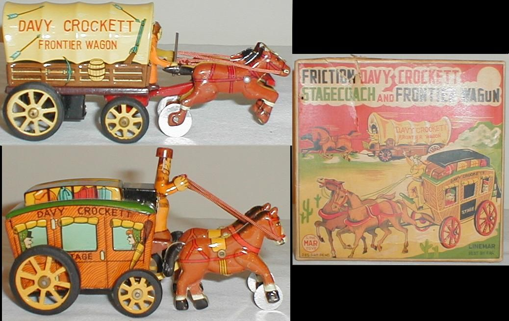 Davy Crockett stagecoach and frontier wagon by Linemar, Japan...