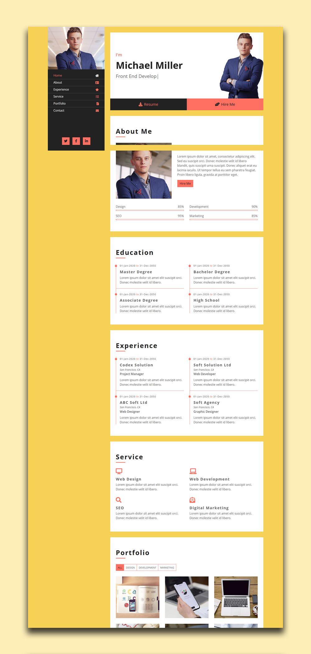 Free Portfolio Template In 2020 Portfolio Website Template Free Portfolio Website Free Portfolio