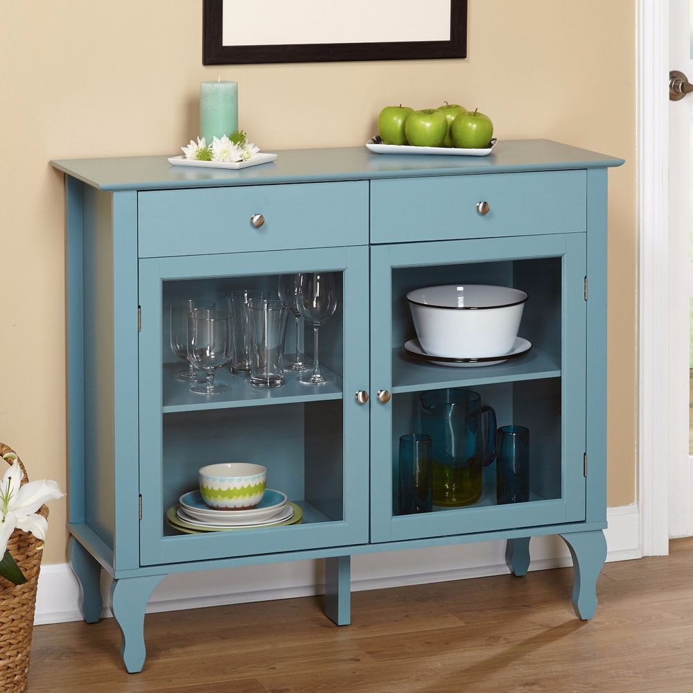 Antique Buffet Cabinet Sideboard Storage Drawers Glass Doors ...