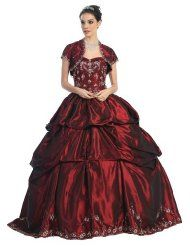 #3001 Burgundy Corset Embroidery Wedding Formal Ball Gown