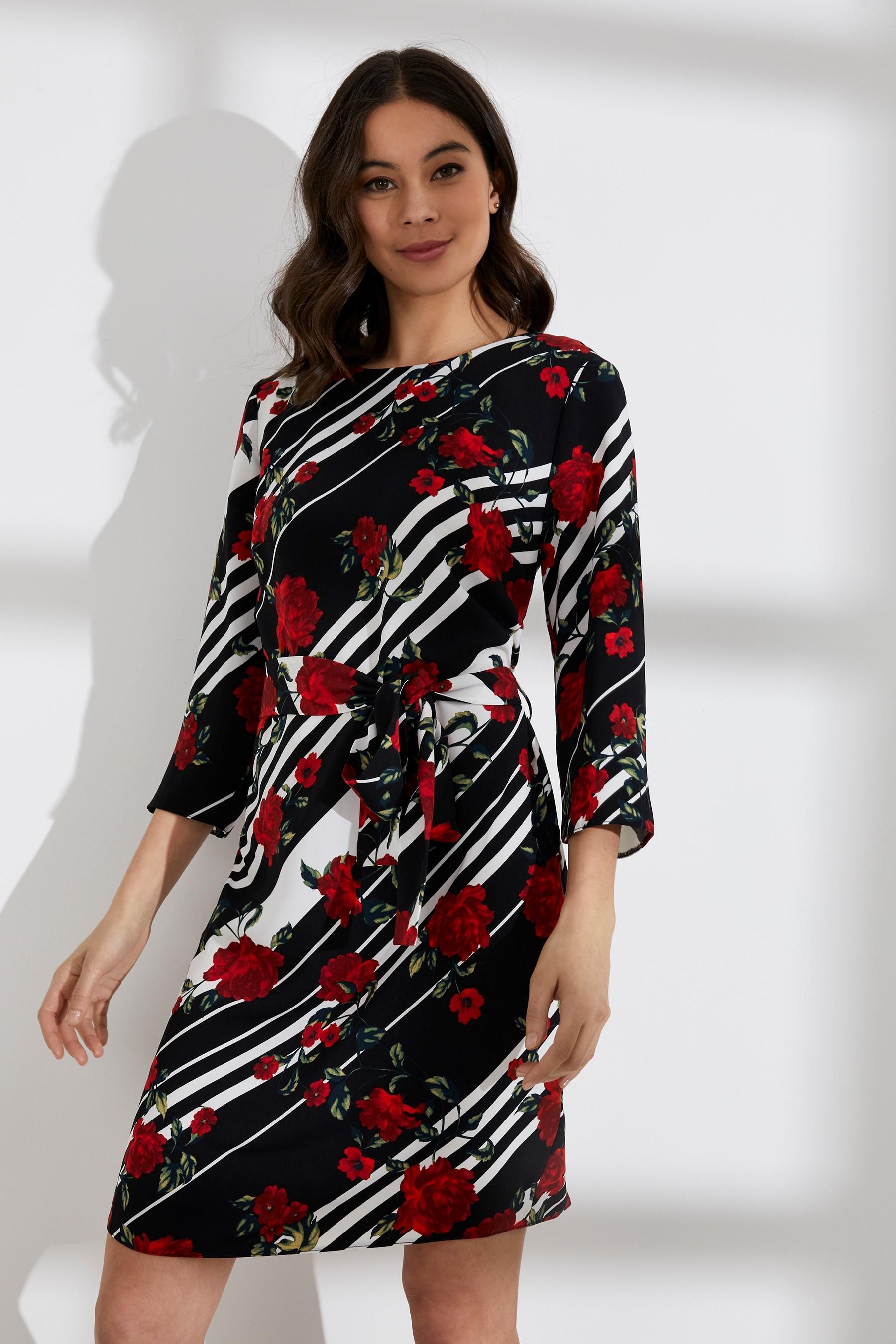 9ebada120f Womens Dorothy Perkins Floral Stripe Tie Belted Shift Dress - Black ...