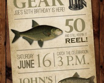 Fishing Birthday Invitation Fishing Invitation Fisherman