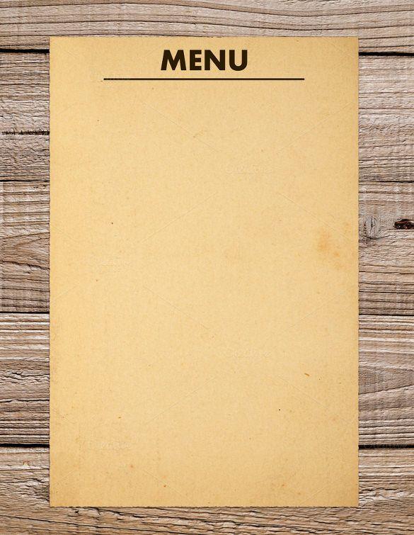 Blank Menu Template Template Restaurant Menu Template Free Menu