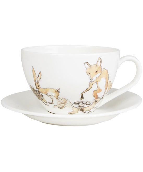 Animal Tea Party Teacup and Saucer