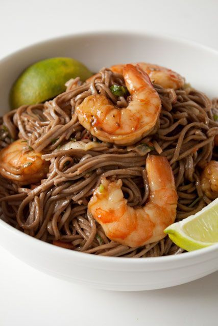 Packed with protein, veggies, and fiber this easy to make soba noodle dish makes a great meal. Served warm or cold, it is packed with flavor and nutrients.   #sobanoodles #wholegrain #shrimp #AndieMitchell