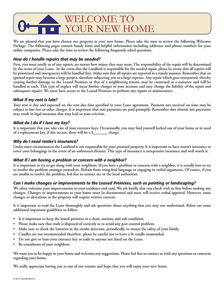 Tenant welcome letter ez landlord forms carlyle Questions to ask a builder when buying a new home