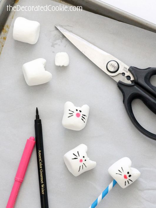 CAT MARSHMALLOWS -- easy animal food craft for kids