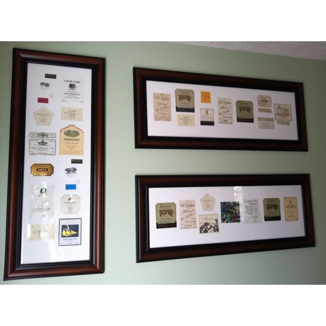 Wine labels framed art Wine labels removed and matted and then - free wine label design