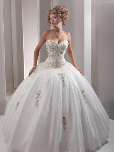 Goled with White Sweet 16 Dresses