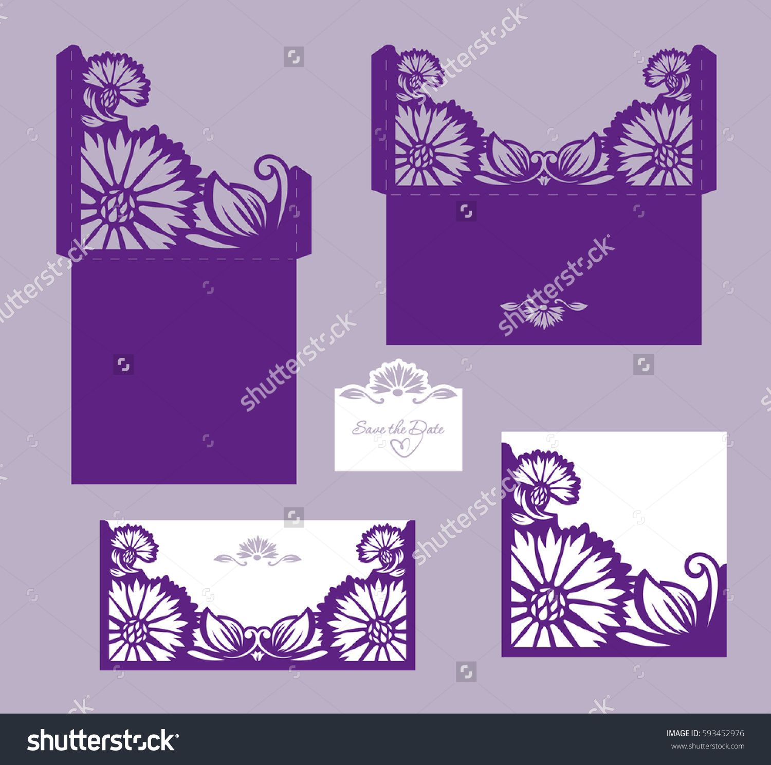 Set of laser cut wedding invitation card template vector. Die cut paper card with cornflowers. Cutout paper gate fold card for laser cutting or die cutting template.