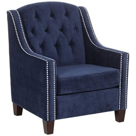 Tivoli Bella Ink Blue Velvet Tufted Armchair 7d196