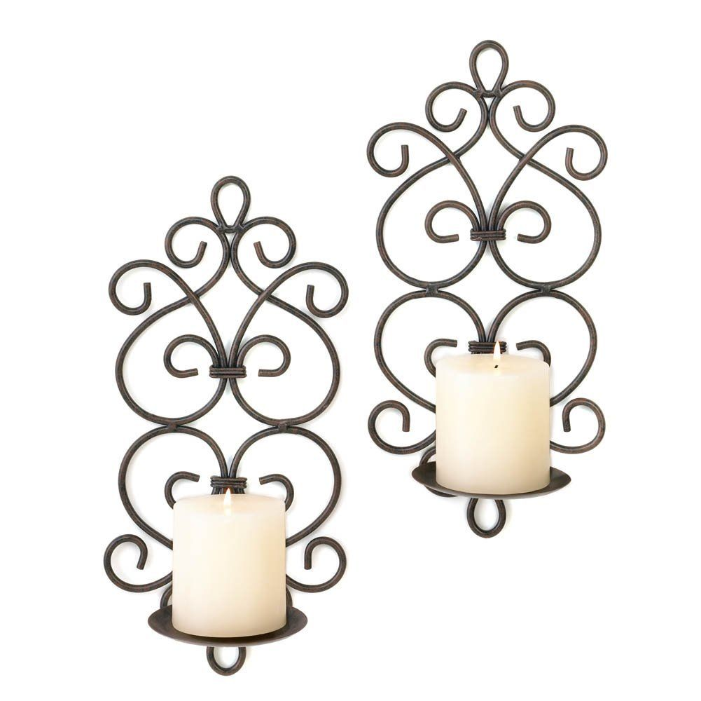 Tuscan mediterranean scroll work metal candle wall sconces best