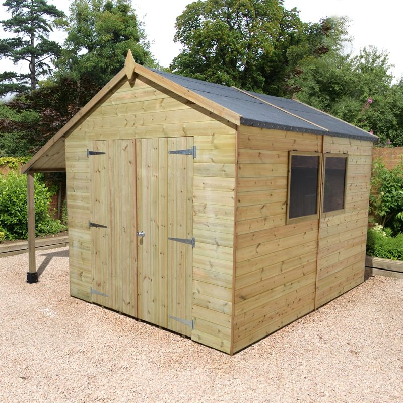 10x8 Ultimate Heavy Duty Workshop With Log Store Buy Sheds Direct Shed Log Store Shed Double Doors