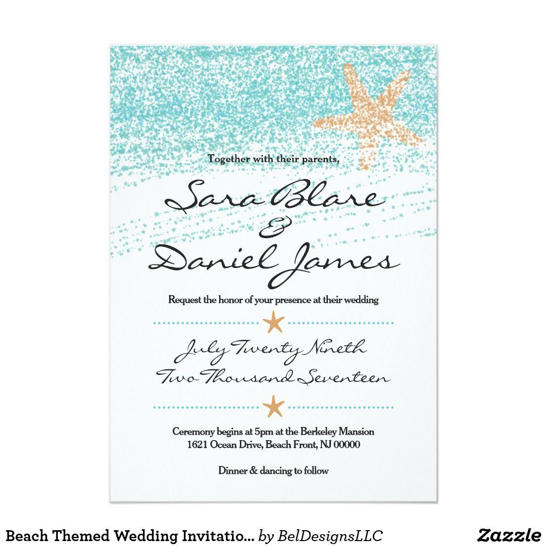 Beach Themed Wedding Invitation w/ Starfish Accent | Beach Wedding ...
