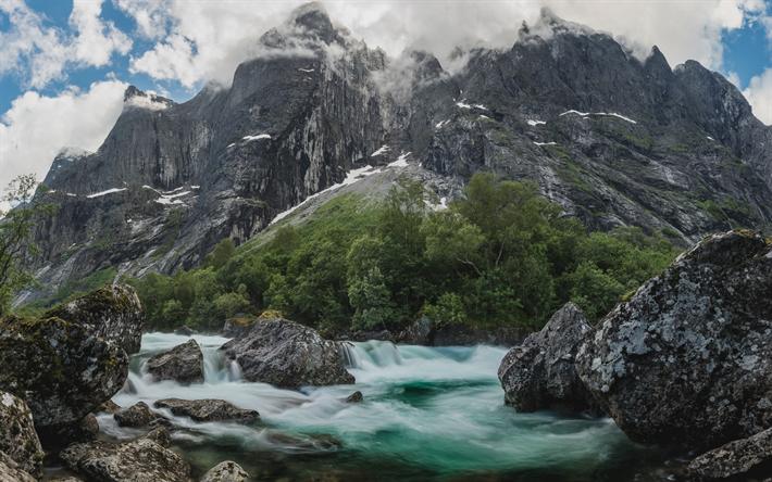 Lataa kuva Vuori joen, kiviä, vuoret, mountain maisema, Norja, Rauma, Trollveggen