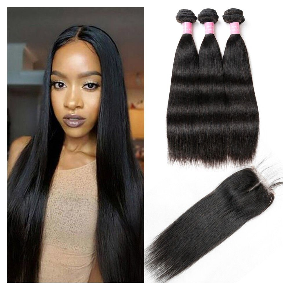Remy Hair 4 Bundles With Closure Unprocessed Brazilian Straight