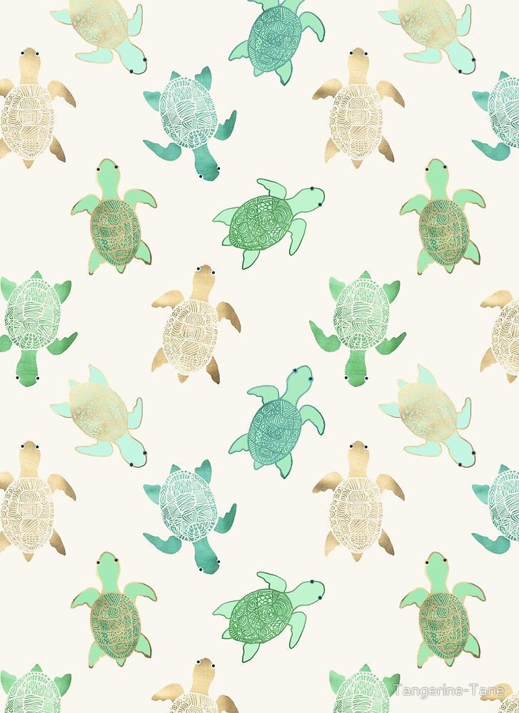 Gilded Jade & Mint Turtles Summer wallpaper, Iphone