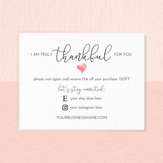 Thank You For Your Business Cards, Thank You For Your Order Editable Template, Instant Download Small Business Cards