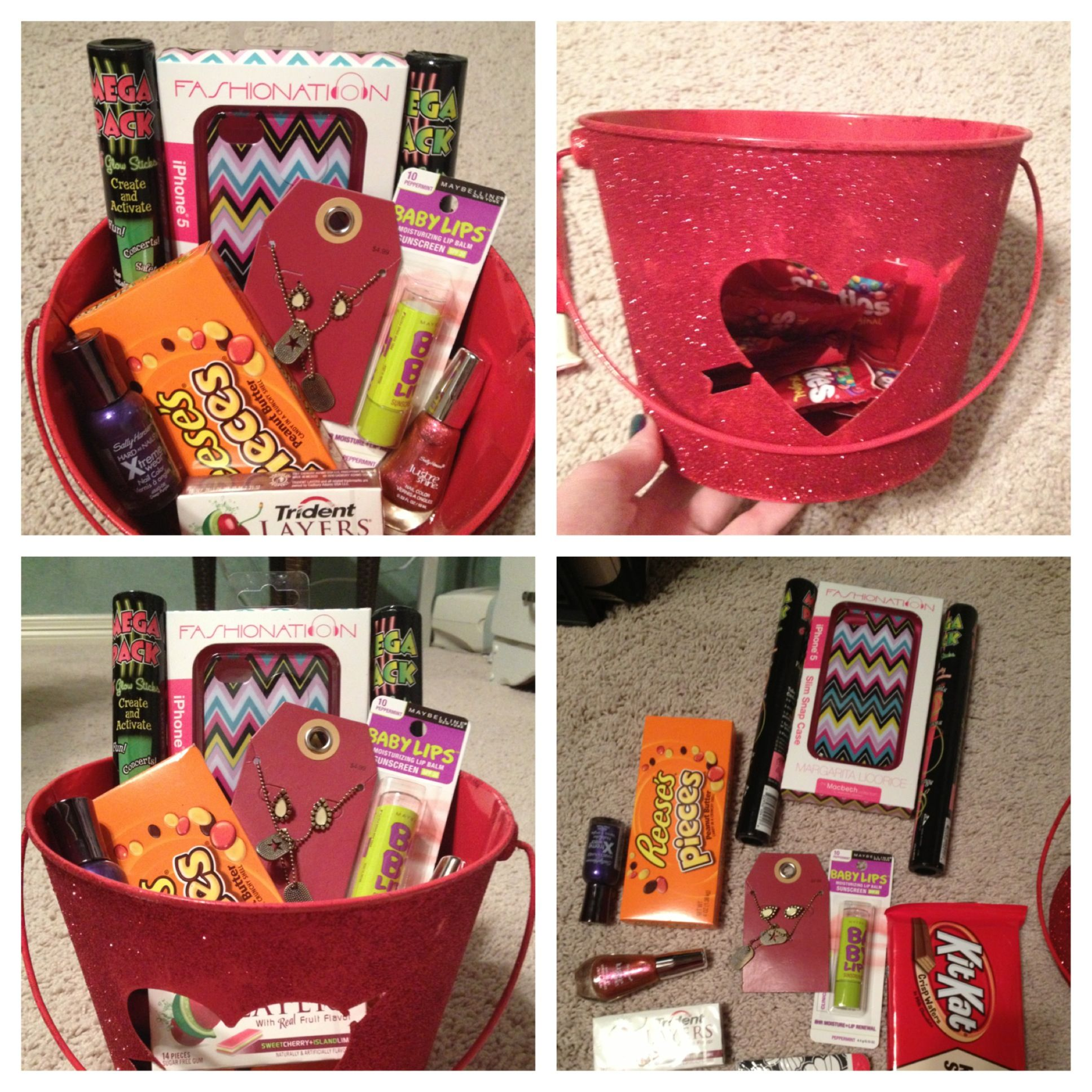 Cute Teen Girl Birthday Present. With IPhone Cases, Candy, Make Up, Jewelry, And Fun Glow Sticks