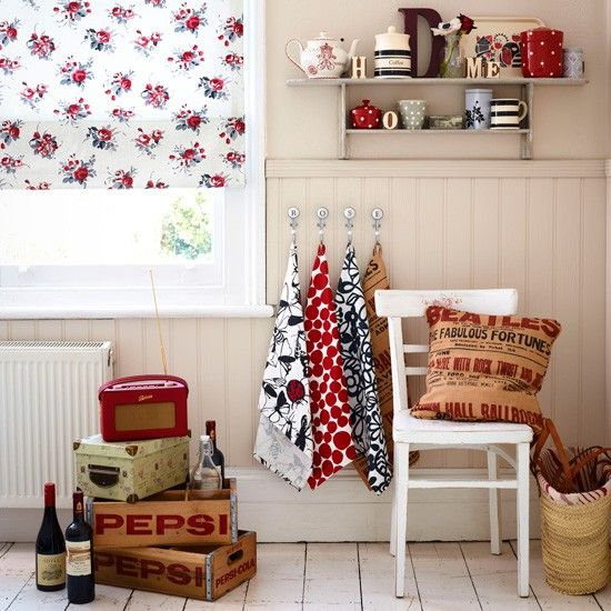 red and white retro kitchens   vintage utility room retro and floral ...