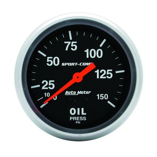 Autometer 3423 Sport Comp Mechanical Oil Pressure Gauge 2 5 8 In Black Dial Face Fluorescent Red Pointer White Incand Gauges Autometer Gauges Oil Pressure