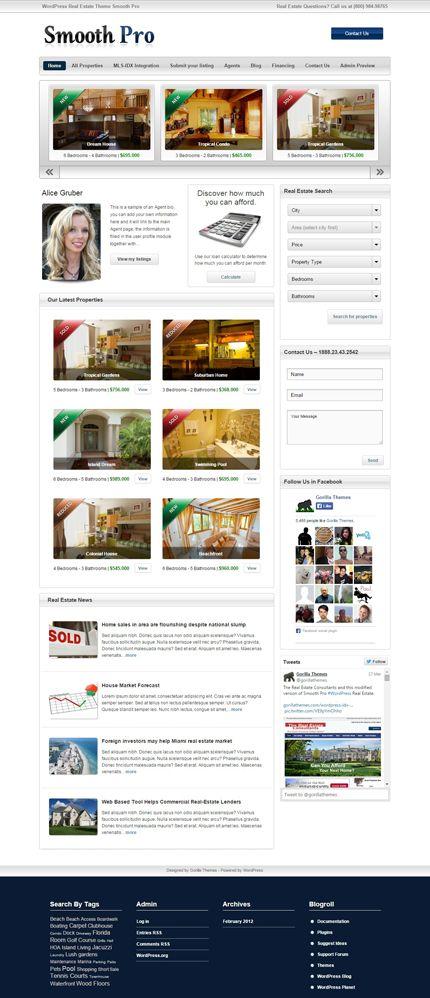 Smooth Pro WordPress Real Estate Theme   Responsive WordPress Themes ...