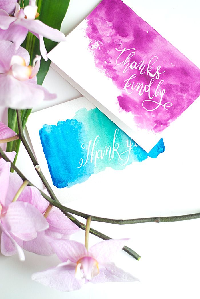 Mix Watercolor And Calligraphy To Create Gorgeous Thank You Cards