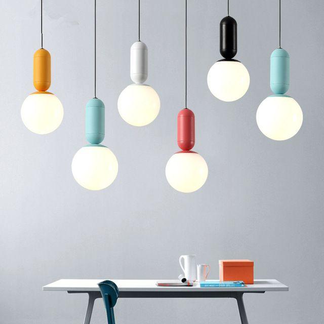 D Interiors Mała Sypialnia: Nowoczesny Wisiorek Światła Piłka LED Pedant Lampy Macaron