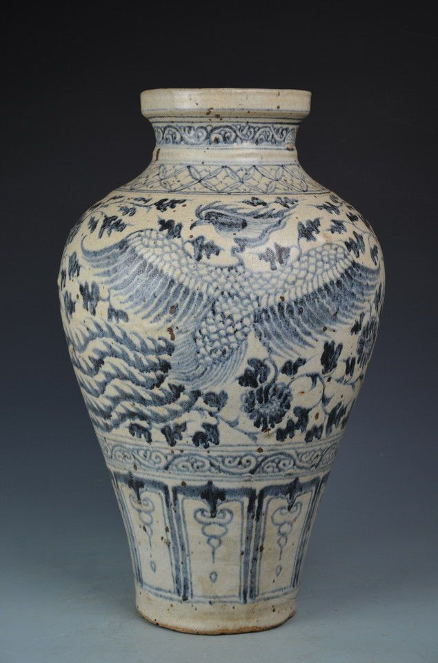 A Large Nice Fine Chinese Blue And White Porcelain Phoenix Vase