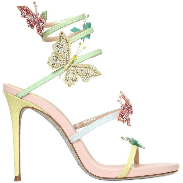 RENé CAOVILLA Embellished butterfly heeled sandals