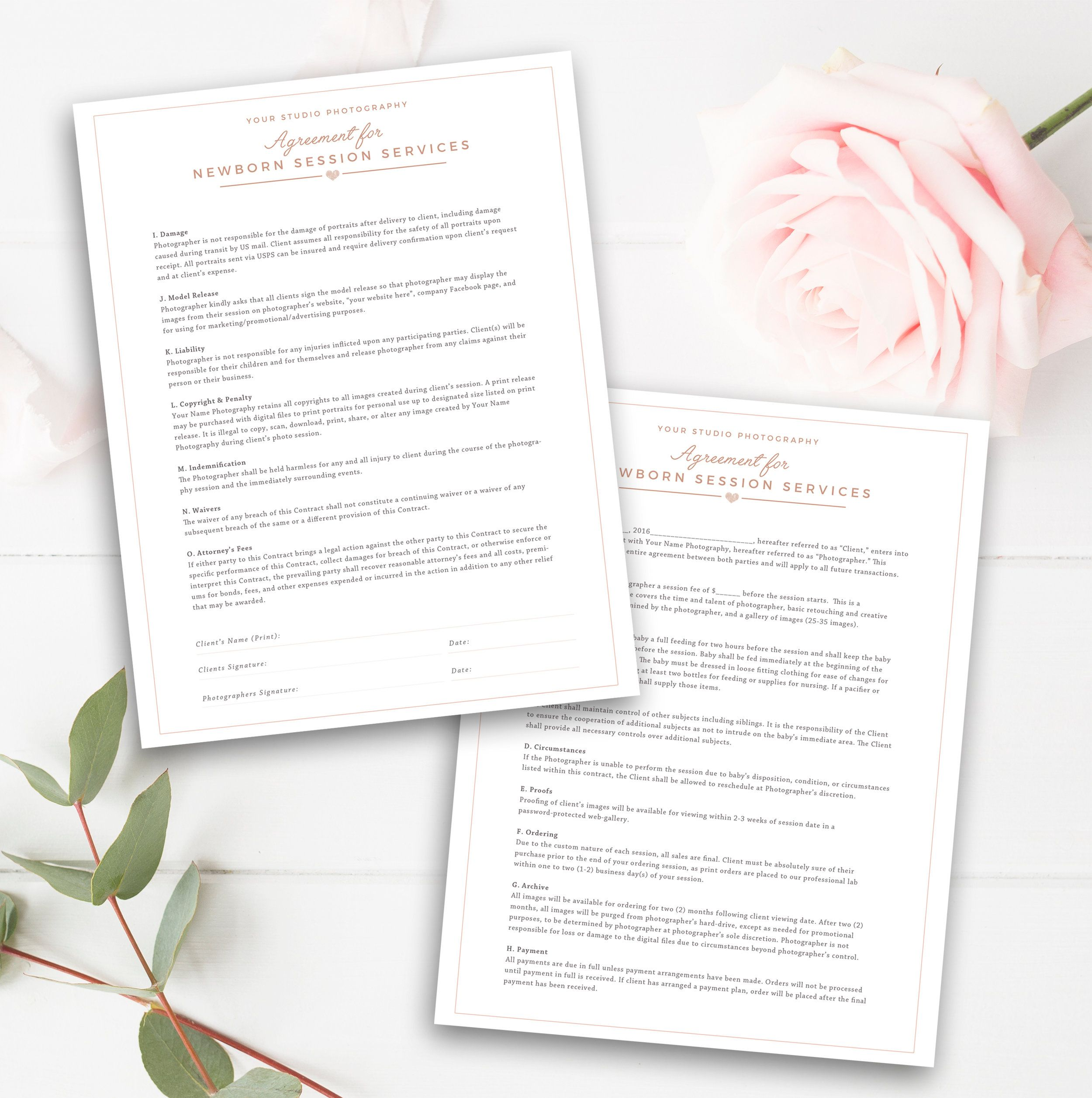 newborn photography contract template newborn photographer business forms photoshop download instant download