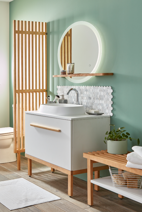 salle de bains vert et blanc