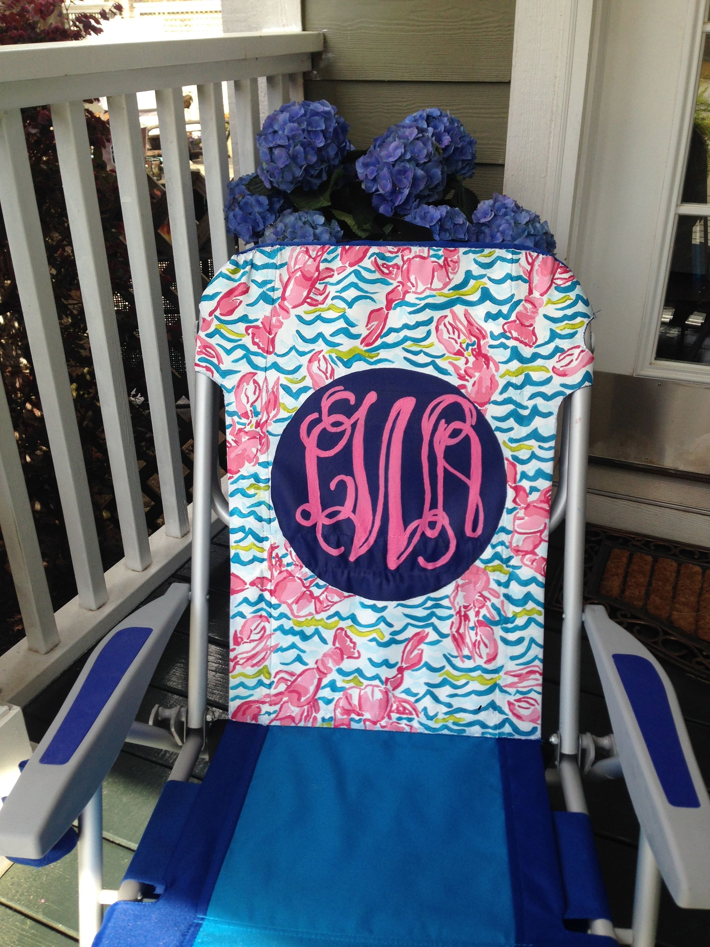 Hand painted monogram beach chair.  Lilly Pulitzer inspired pattern : Lobstah Roll