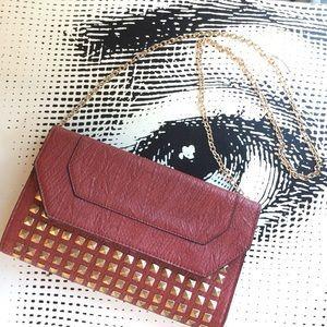 Orange Caramel Handbags - Red Studded Crossbody Clutch
