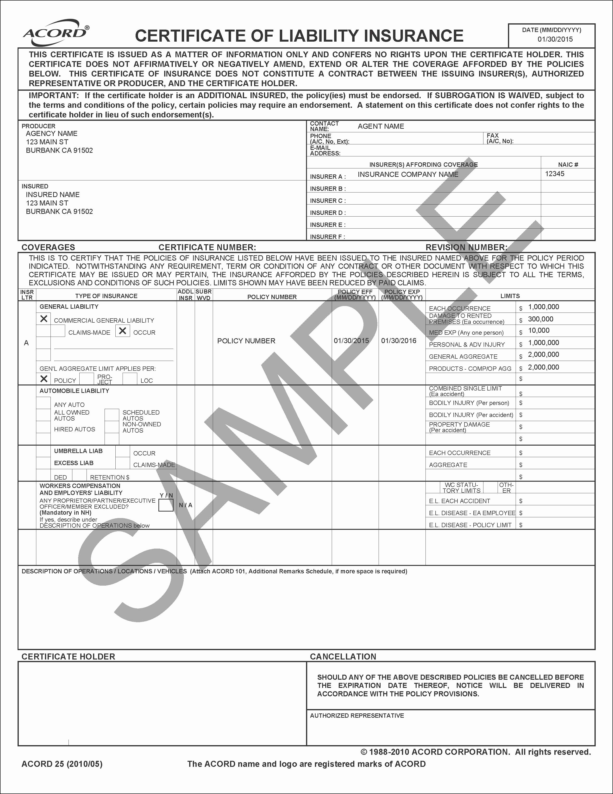 Certificate Of Liability Insurance Form Template In 2020