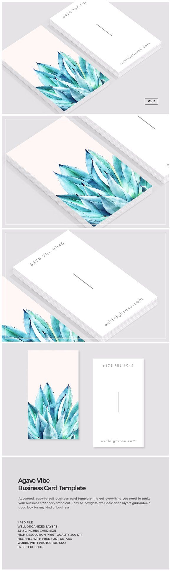 Agave vibe business card template pinterest cartes de visita agave vibe business card template by the design label on creativemarket business cards design free reheart Image collections
