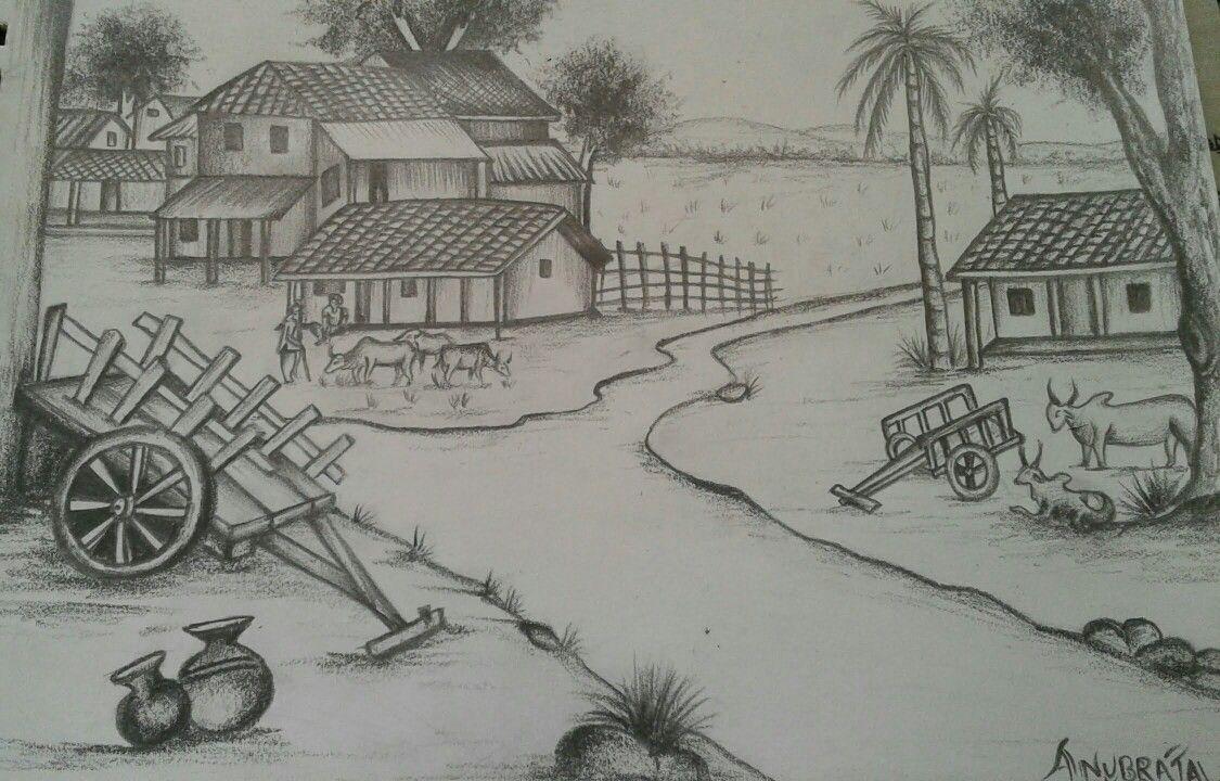 Pencil Shading Drawing Scenery Village Scene Drawing Village Drawing