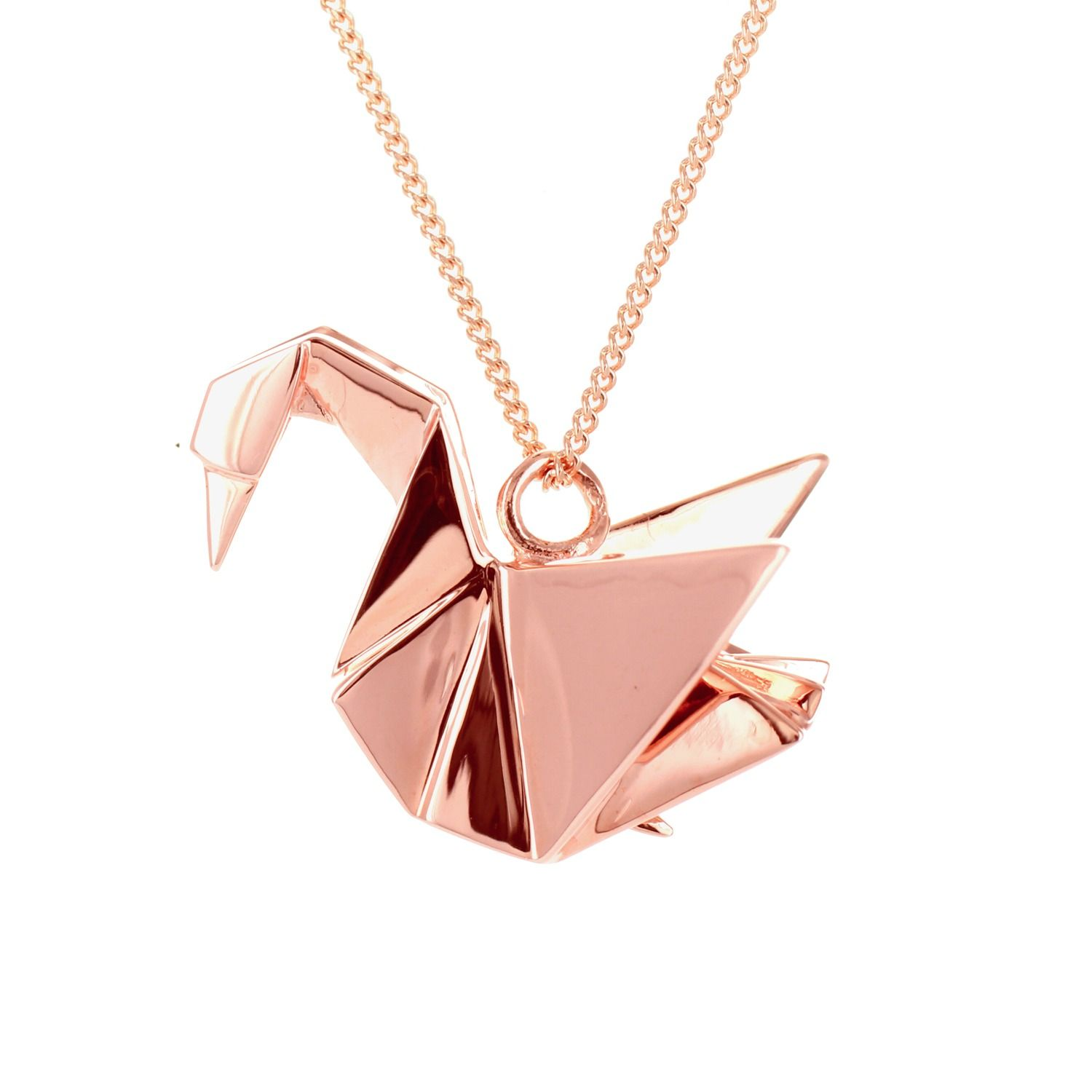 Origami Jewellery Sterling Silver Pink Gold Plated Bird Necklace 8HLeaAapm