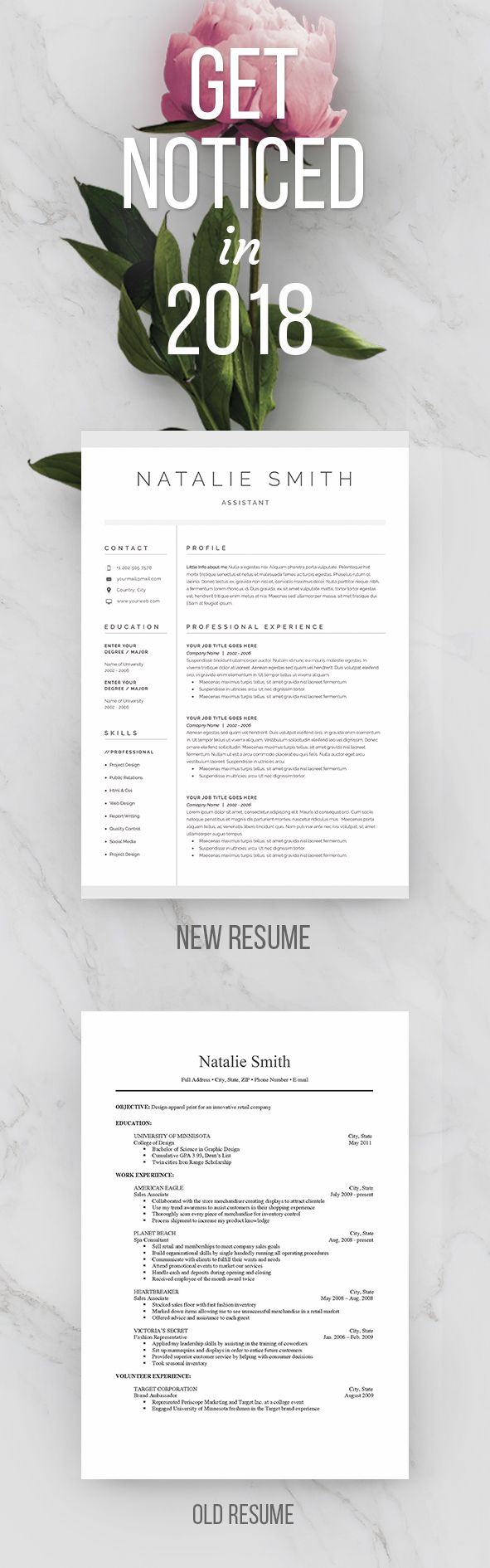 Get Noticed in 2018! Land your dream job! Resume cover