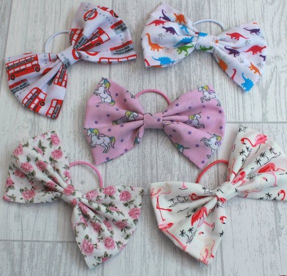 Fabric Hair Bows, Baby Hair Bows, Photo Shoot, Party Wear, Childs Hair Bows, Gift, Unicorns, Flamingos, Dinosaurs, Roses, London Buses